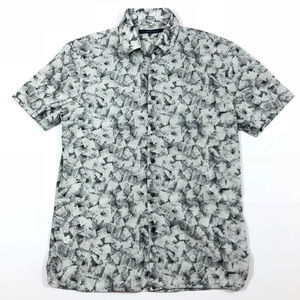 Perry Ellis Gray Square Pattern Button Down Shirt